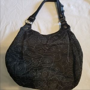 Thirty One Black Quilted Poppy Hobo Bag